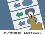 hand casting vote in electronic ... | Shutterstock .eps vector #1336536398