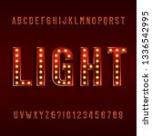 retro light bulb alphabet font. ... | Shutterstock .eps vector #1336542995