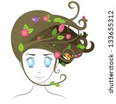 portrait of a girl with flowing ... | Shutterstock .eps vector #133655312