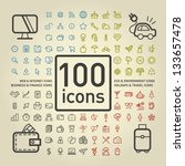 100 outlined icons of holidays... | Shutterstock .eps vector #133657478