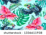 floral seamless pattern with... | Shutterstock . vector #1336611938