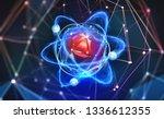 atomic structure. futuristic... | Shutterstock . vector #1336612355