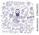 tattoo vector set. cartoon... | Shutterstock .eps vector #133661822