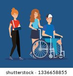 woman with hand fracture and... | Shutterstock .eps vector #1336658855
