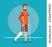 disabled man walking with... | Shutterstock .eps vector #1336659602