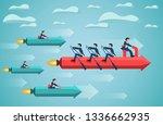 business teamwork on rowing... | Shutterstock .eps vector #1336662935