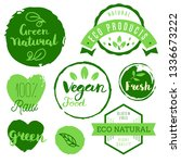 healthy food icons  labels.... | Shutterstock .eps vector #1336673222