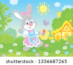 friendly smiling easter bunny... | Shutterstock .eps vector #1336687265