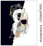 black and white skull... | Shutterstock . vector #1336697492