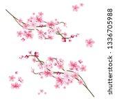 realistic sakura tree branch.... | Shutterstock .eps vector #1336705988