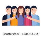 people taking selfie | Shutterstock .eps vector #1336716215