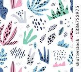 grass flat hand drawn seamless... | Shutterstock .eps vector #1336733975