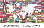 world flags and world map   Shutterstock .eps vector #1336739945