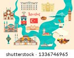 istanbul city colorful map.... | Shutterstock . vector #1336746965