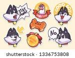 sticker collection of emoji... | Shutterstock .eps vector #1336753808