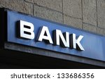 bank office sign on building | Shutterstock . vector #133686356