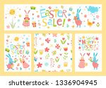 vector set of easter cards for... | Shutterstock .eps vector #1336904945