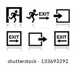 emergency exit icons vector set | Shutterstock .eps vector #133693292
