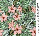 tropical pink hibiscus flowers  ... | Shutterstock .eps vector #1336933175