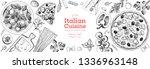 italian cuisine banner. a set... | Shutterstock .eps vector #1336963148