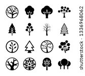 tree symbols icon collection  | Shutterstock .eps vector #1336968062
