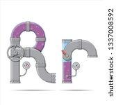 pipe letter. alphabet in... | Shutterstock .eps vector #1337008592