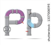 pipe letter. alphabet in... | Shutterstock .eps vector #1337008595