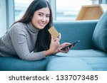 women crazy shopaholic holding... | Shutterstock . vector #1337073485