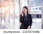 woman using smartphone shopping ... | Shutterstock . vector #1337073488