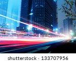 light trails on the street in... | Shutterstock . vector #133707956