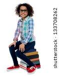 smiling little girl sitting on...   Shutterstock . vector #133708262