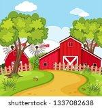 a rural house scene illustration | Shutterstock .eps vector #1337082638