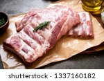 fresh raw pork ribs with... | Shutterstock . vector #1337160182