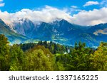 magnificent snowy mountain... | Shutterstock . vector #1337165225