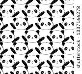 hand drawn panda bear. pattern... | Shutterstock . vector #1337166278