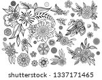 hand drawn flowers collection.... | Shutterstock .eps vector #1337171465