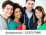portrait of happy students... | Shutterstock . vector #133717988
