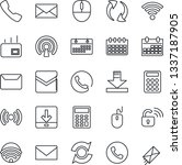 thin line icon set   phone...