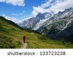 Backpacker Hiking In The...