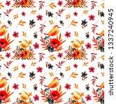 field flower card with birds | Shutterstock . vector #1337240945