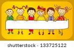 kids holding a sign. | Shutterstock . vector #133725122
