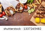 gyro pita  shawarma  souvlaki.... | Shutterstock . vector #1337265482