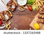 gyro pita  shawarma  souvlaki.... | Shutterstock . vector #1337265488