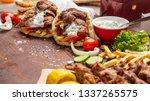 gyro pita  shawarma  souvlaki. ... | Shutterstock . vector #1337265575