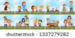set of people at the garden... | Shutterstock .eps vector #1337279282