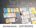Scrum task board on dark wall in office