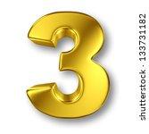digit number 3 in gold metal on ... | Shutterstock . vector #133731182