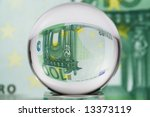 hundred euro banknote through... | Shutterstock . vector #13373119