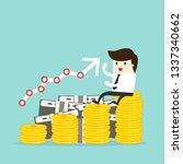 business man sit on money stack ... | Shutterstock .eps vector #1337340662