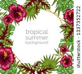 tropical floral ornament... | Shutterstock .eps vector #1337352722